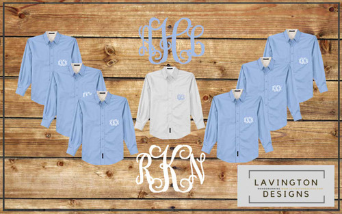 Light Blue Monogrammed Bridesmaid Oxford Button Downs