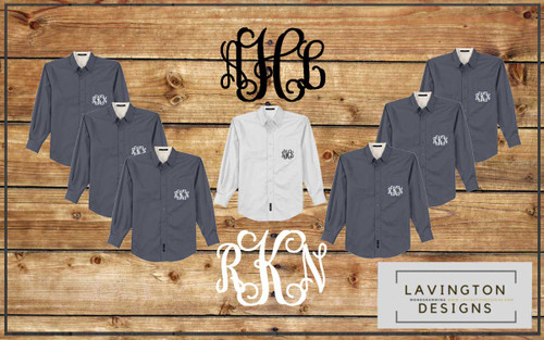 Personalized  Bridemaids Button Down Oxfords for wedding photos
