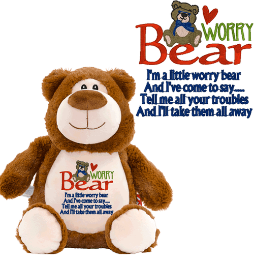 worry bear stuffed animals helps with Stress in children and adult, embroidered with worry bear design