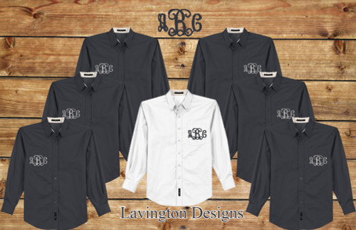 Bridesmaid Button Down Shirt Monogrammed great for getting ready photos
