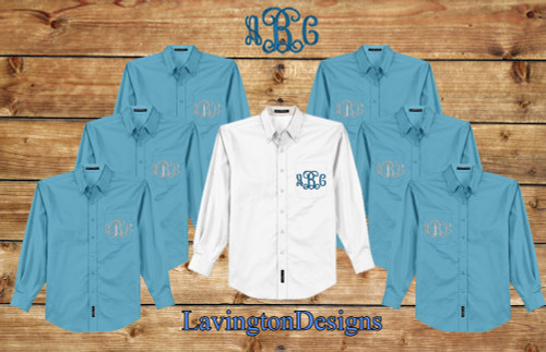 Maui Blue Button Down Oxford Monogrammed Bridesmaid Shirts for Getting ready Photos