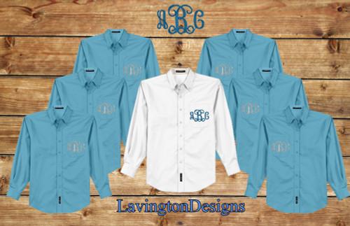 Maui Blue Button Down Oxford Monogrammed Bridesmaid Shirts for Getting ready Photos