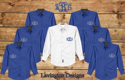 Royal Blue Monogrammed Button Down Oxfords for Bridesmaid Photos and getting ready photos Oversize Shirts
