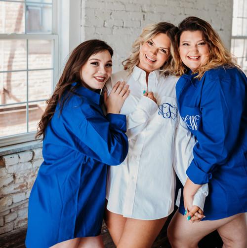 Monogrammed royal blue Bridesmaid shirts