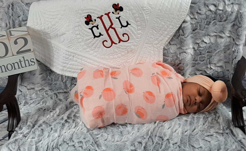 Monogrammed Baby Quilt with a Mouse design, Personalized quilt Embroidered with babys monogram