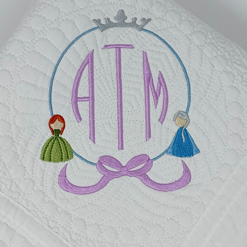 Monogrammed Baby Quilt With Frozen Theme