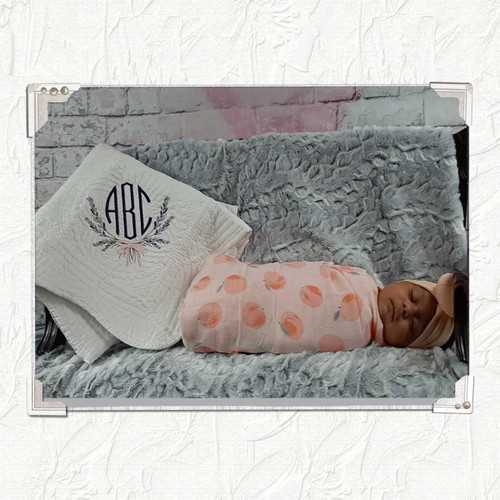 Monogrammed Baby Quilt with Lavender Floral Pattern