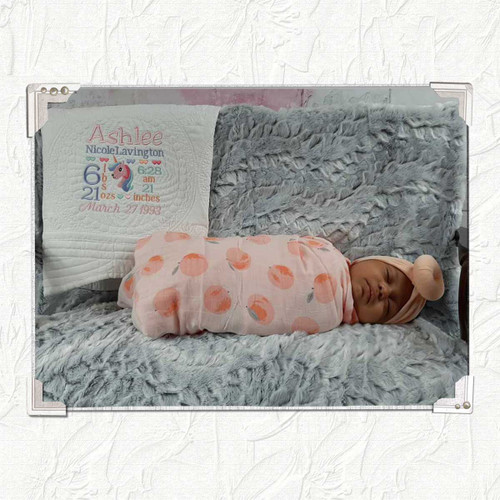custom Baby Quilt with Birth Information Embroidered