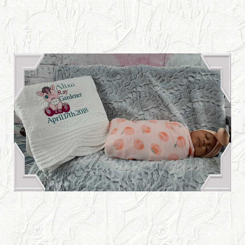 Personalized Baby Quilt- Old Toy Unicorn Design