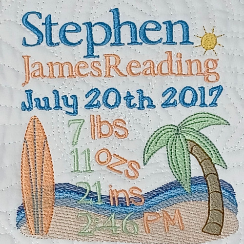 Surf Quilt Baby Birth Announcement  with birth stats embroidered