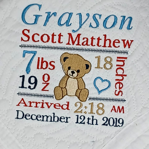 Personalized Teddy Bear Baby Quilt  with Birth Stats Embroidered on the Blanket