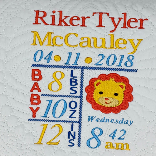Lion Personalized Birth Announcement Quilt- Embroidered Birth Stat Quilt