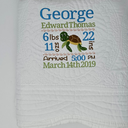 Custom Baby Quilt with Baby Birth Stats, Birth Announcement