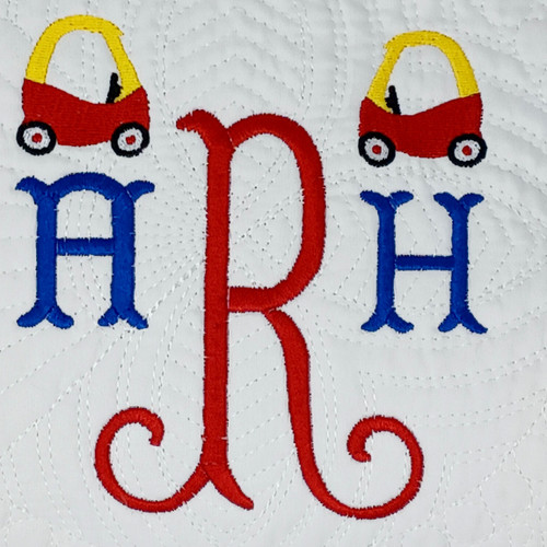 Monogrammed Baby Quilt with Coupe/ Car