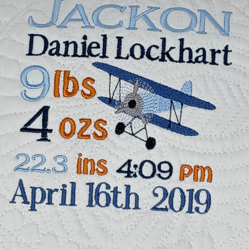 Personalized Baby quilt  Airplane