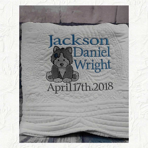 Personalized Baby Quilt with a Husky Dog and Baby's Name and Birthdate  OR Birth Announcement