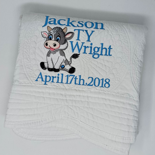 Personalized Cow Quilt for Baby
