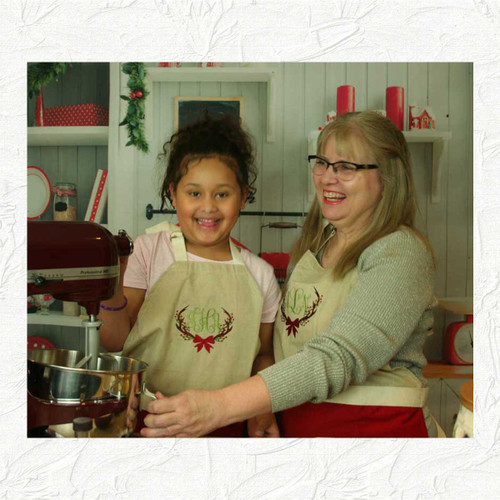 Monogrammed Christmas Aprons for adults and children