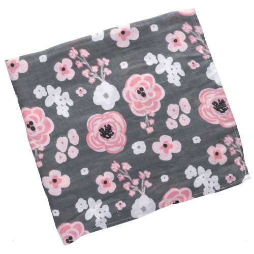 Baby swaddle Blankets charcoal with flower by Stephen Joseph