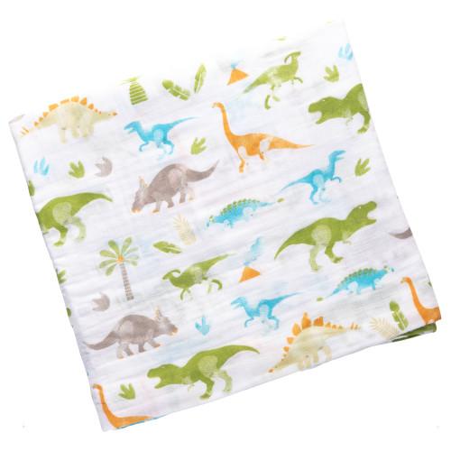 Dino design Muslin baby swaddlers by Stephen Joseph