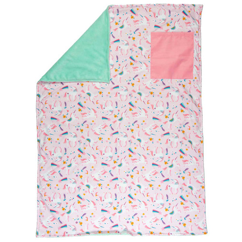 personalized rainbows unicorn toddler blanket by Stephen Josephs
