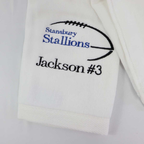 Personalized football towels can be personalized with team number, your name and jersey number