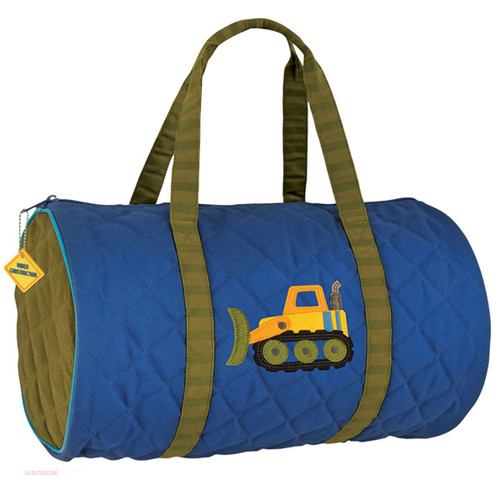 Construction Themed quilted backpack  by Stephen Joseph , monogramming optional at no extra cost. Colors  Navy blue and Green