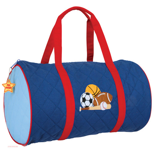 Quilted Sports duffle bag by Stephen Joseph . Navy and Red Duffle Bag with Succor Ball, Basket Ball and Football on the front