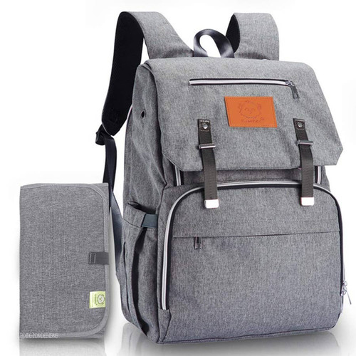 Grey Backpack Diaper Bag  with the option of free monogramming  unisex style