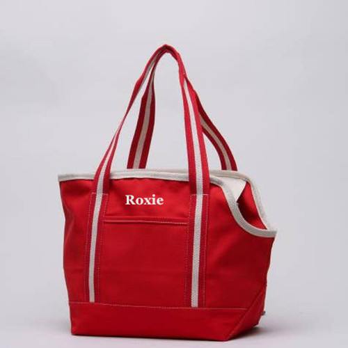 Pet Carrier, Red Canvas Puppy tote personalized