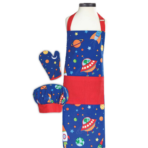 Space Deluxe Youth Apron Set Monogrammed kids apron set