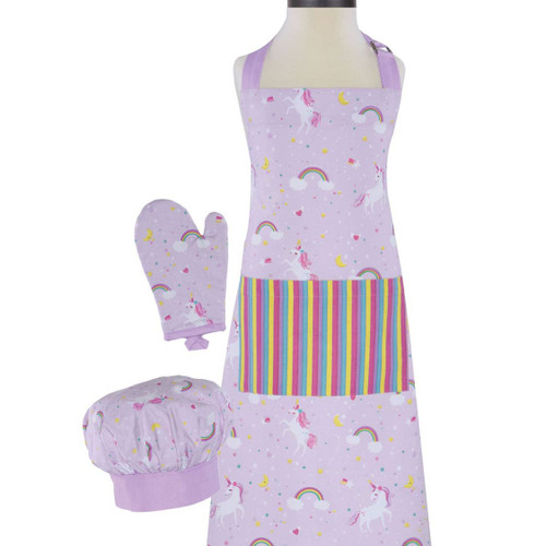 Monogrammed Unicorn apron Set Apron Chef Hat and oven Mat