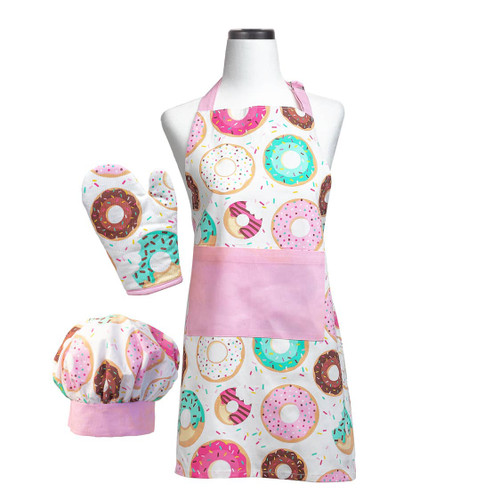 Kids monogrammed apron set with colorful donuts included apron-mitt and chef hat