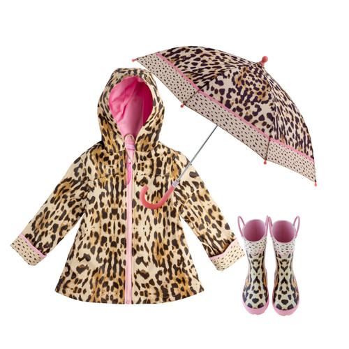 Girl's Leopard Print Rain Gear Set by Stephen Joseph.
