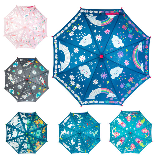 Stephen Joseph Kids' Color Changing Umbrella lots of designs options Rainbows, Sharks, Robots, Unicorns