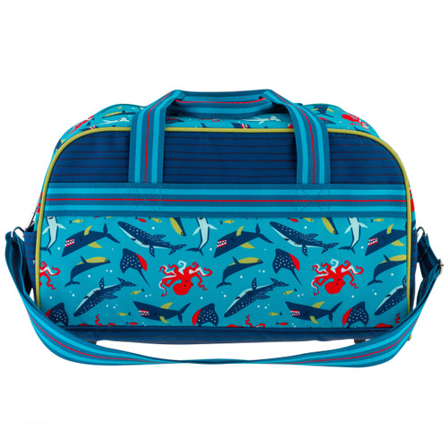 Monogrammed duffle bags for kids  by Stephen Joseph  in a blue with sharks