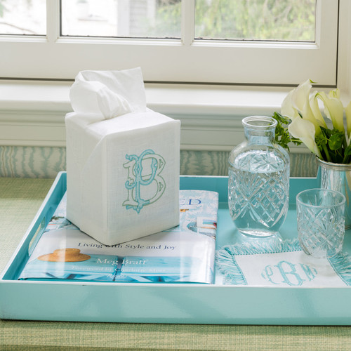 Monogrammed Linen Tissue Box Cover solid colors