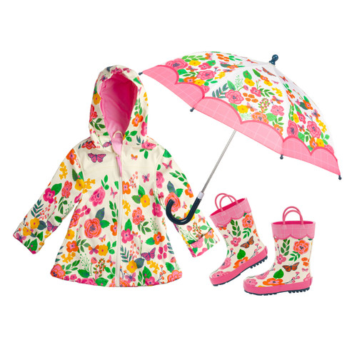 Stephen Joseph Little Girls Flowered Rain Gear. Rain Jacket , Rain Boot and Umbrella for children