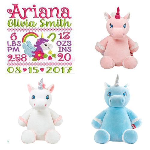 Unicorn Birth Stat Stuffed Plush personalized