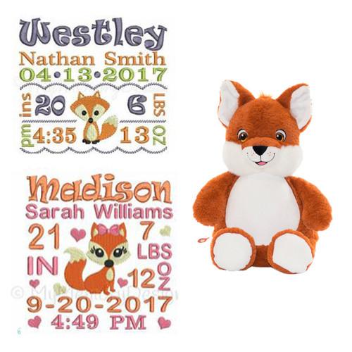 Birth stat Stuffed Fox- Personalized birth Announcement Stuffed fox with babies birth info