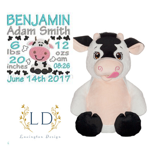 Stuffed Birth Announcement Cow