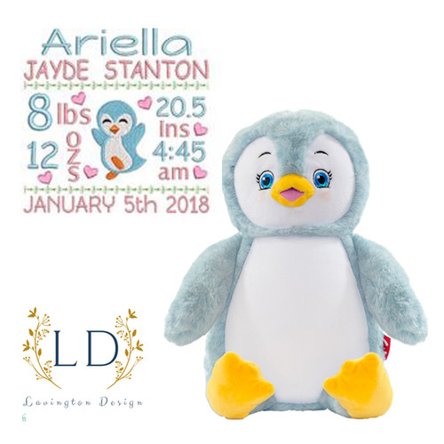 Penguin Stuffed Birth Info Animal - Blue stuffed Penguin with embroidered belly showing personalized birth info