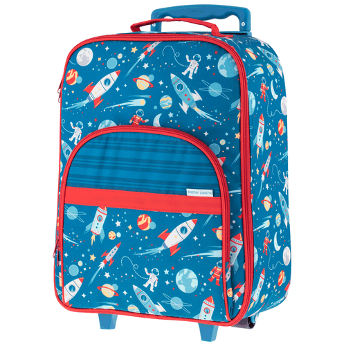 Little Boys Rolling Luggage by stephen Joseph with a Space Theme Front View, Personalizing optional