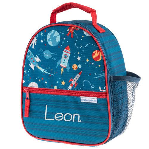 Boys lunchbox by STephen Joesph witha SPace Theme front Photo personalized