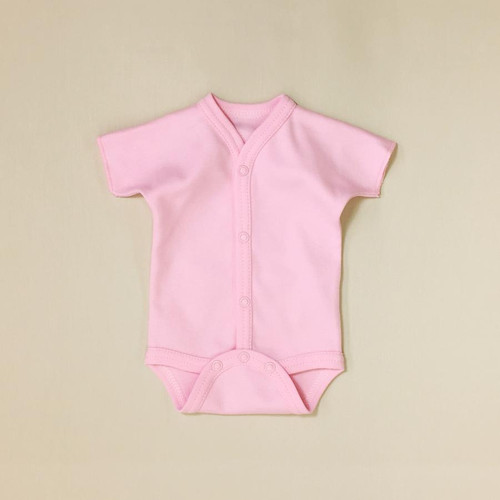Baby Bodysuits pink full button down
