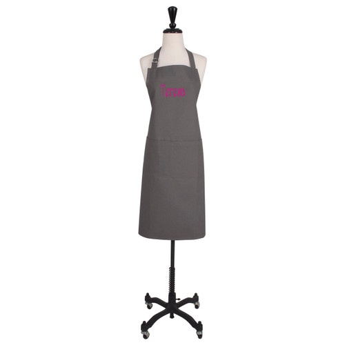 Personalized Embroidered Apron Pewter