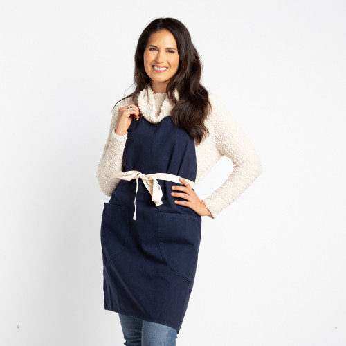 Aprons with Pockets Canvas Apron Personalized in Navy.