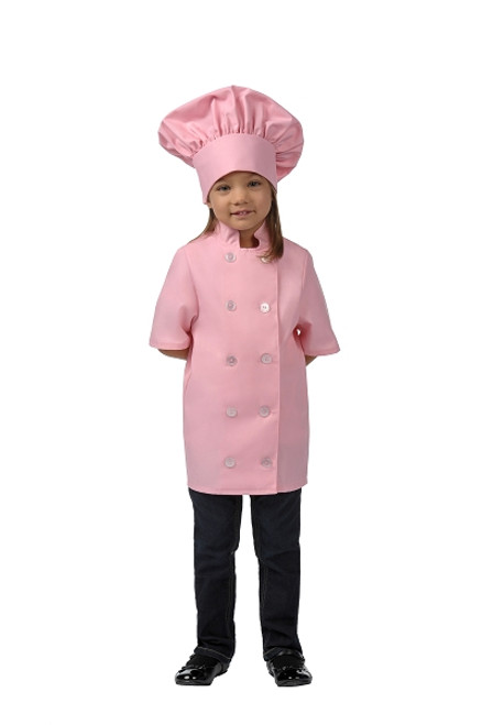 Kids Chef Jacket short sleeve in pick with chef hat for girls. Life Style Photo