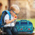 Life Style Photo of little boy with his Stephen Joseph Dino duffle  bag