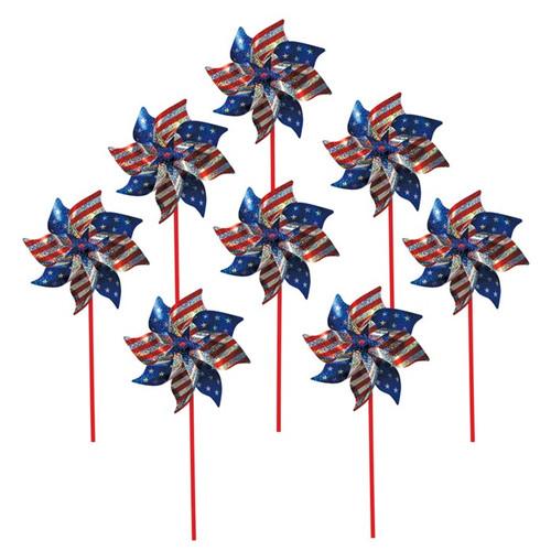 Mylar Pinwheels - Stars and Stripes - 8 PC